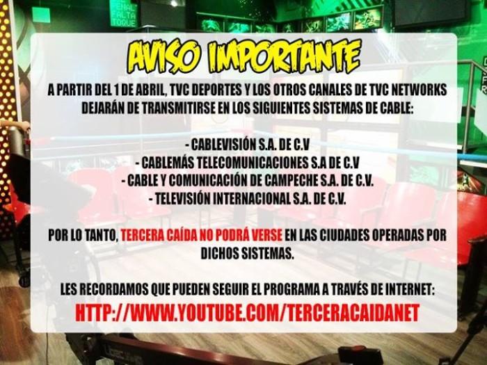 [Televisión/Deportes/Gobierno] TVC Deportes desaparecerá de varios sistemas de Cable